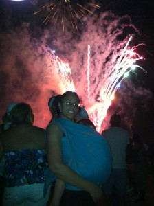 Babywearing and going to the fireworks.