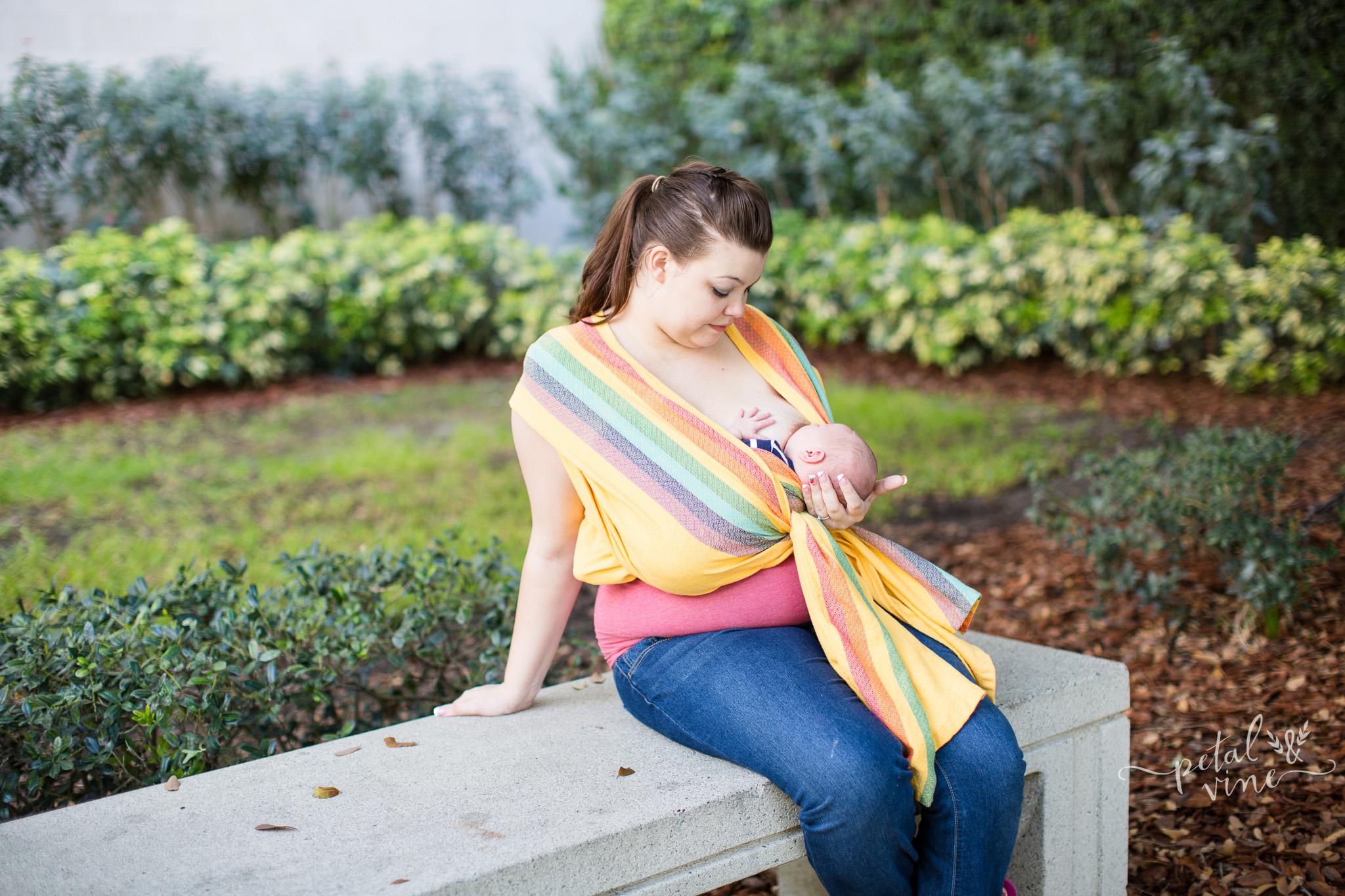 Nursing Newborn in Wrap Cradle Carry