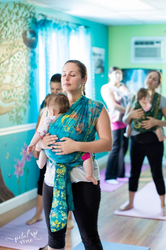 Yoga Pose with Wrapped Up Babies and Toddlers