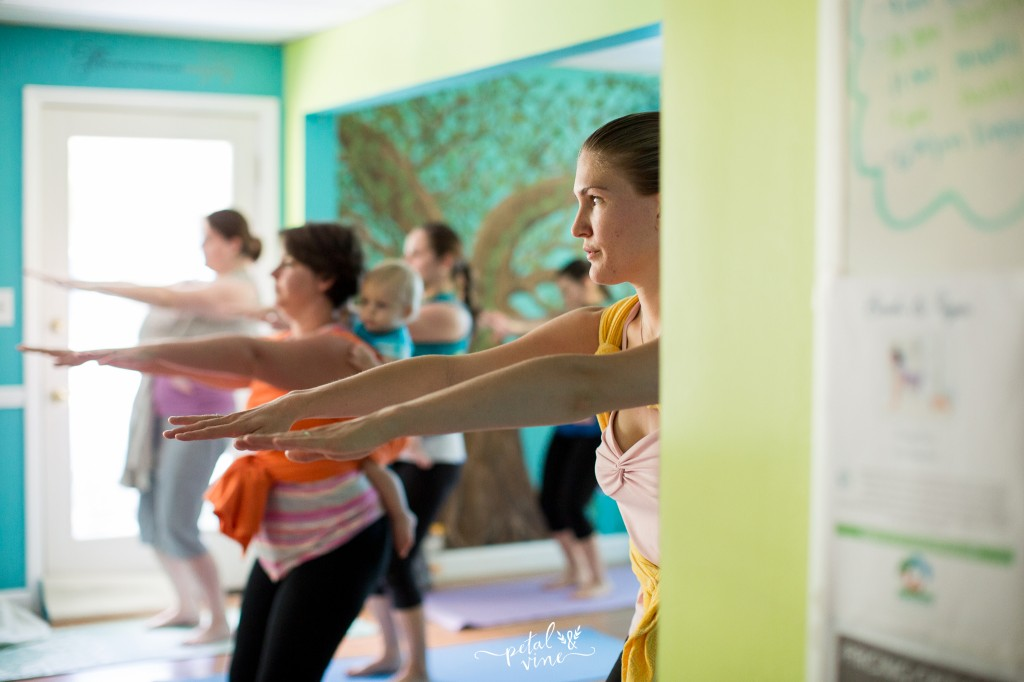 Beautiful yoga class for moms and babies.