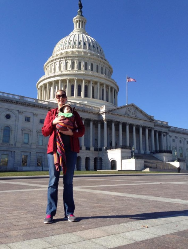 Babywearing at the nation's capital in the District of Columbia.