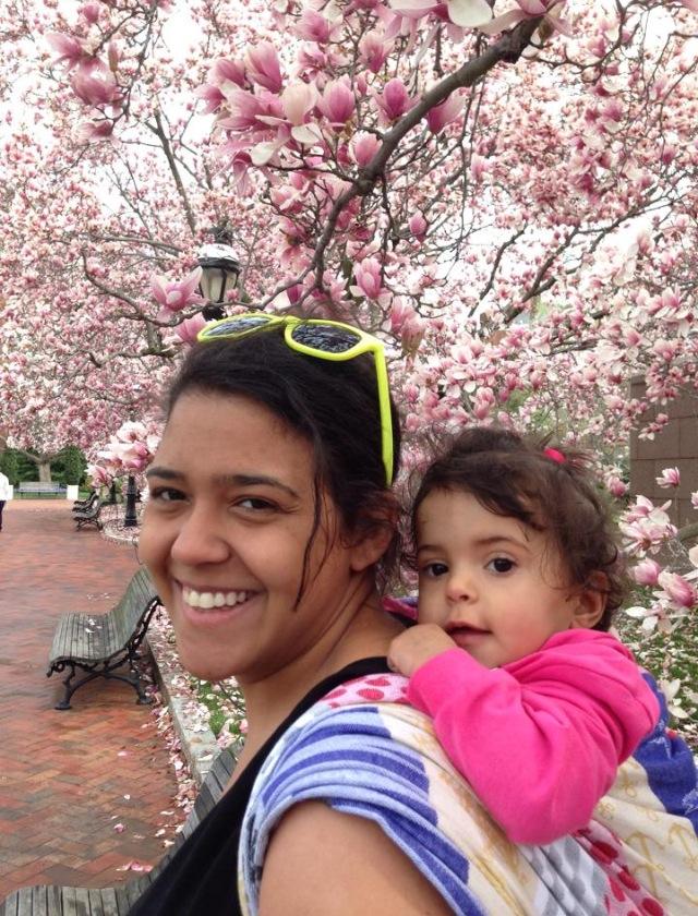 BWI of DC, Maryland and Virginia babywearing in front of the Cherry Blossoms in Washington District of Columbia.