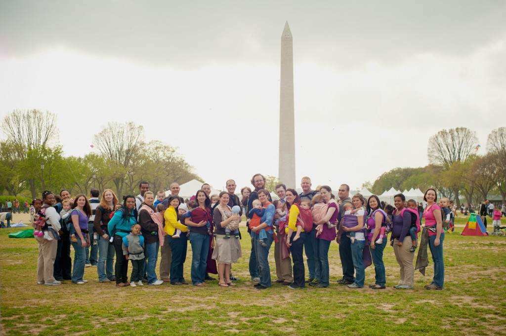 Babywearing at the Washington Monument in the District of Columbia.