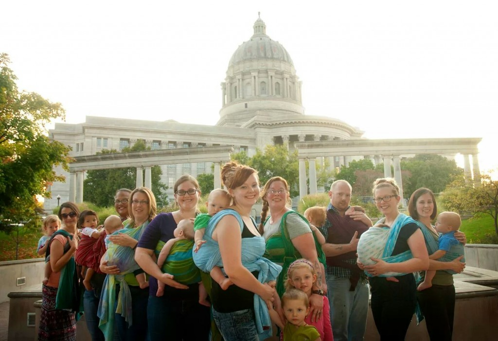 Babywearing in front of the state capital, Jefferson MO