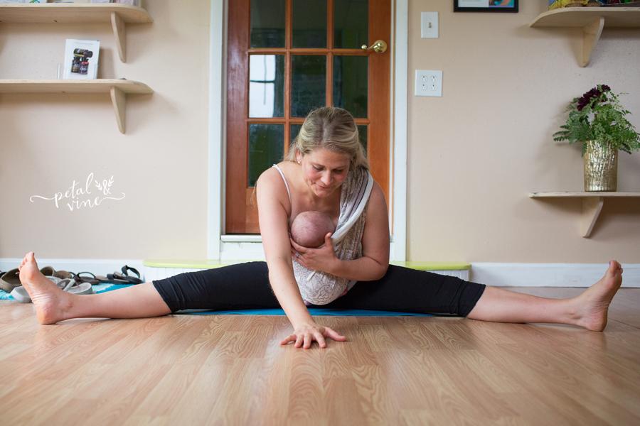 Dragonfly Pose babywearing yoga
