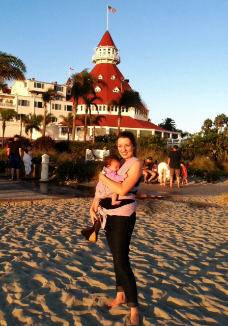 Babywearing San Diego in front of Hotel Del