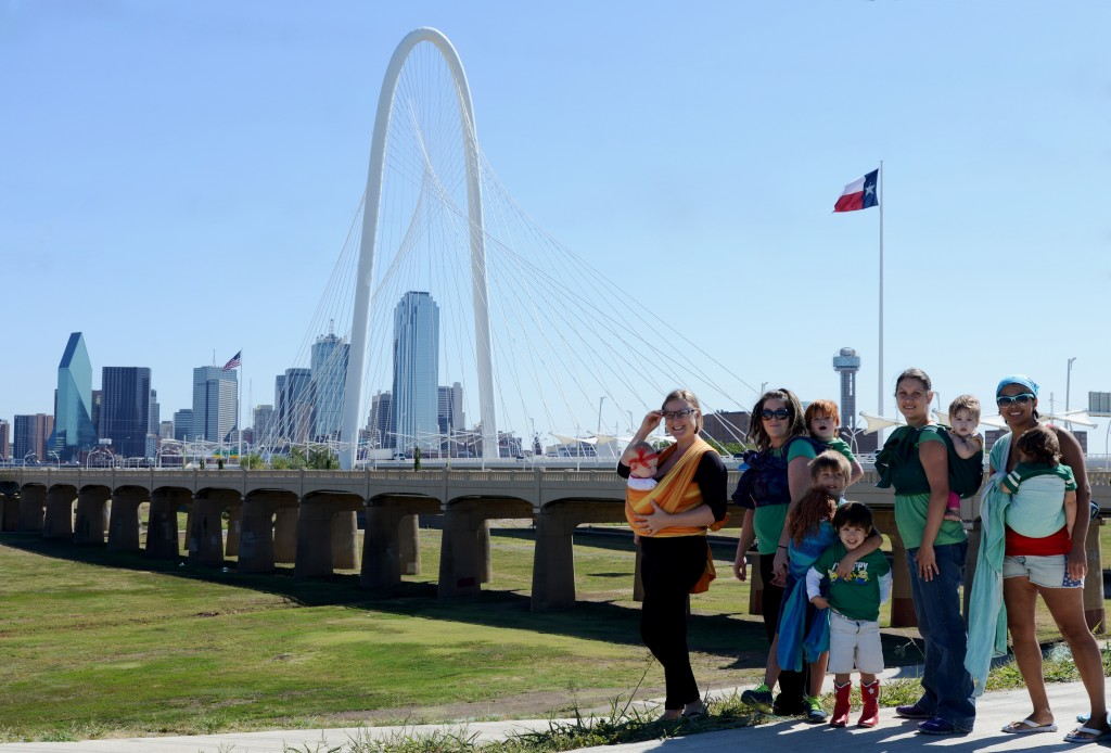 North Dallas Wearing Mamas babywearing in front of the Margaret Hunt Hill Bridge.