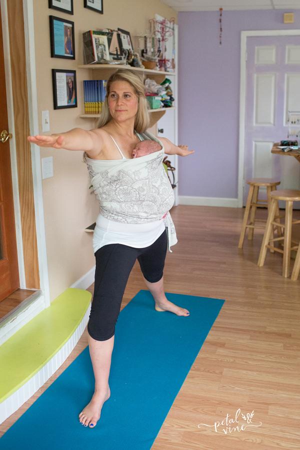 Warrior Pose B babywearing yoga