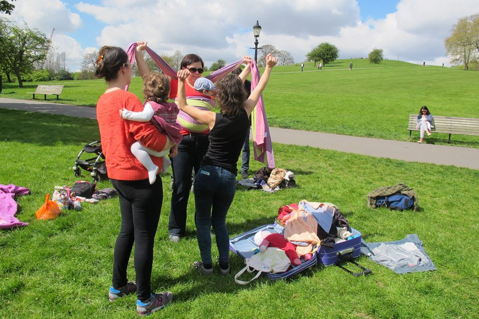 Learning to use a woven wrap on the Babywearing Walk