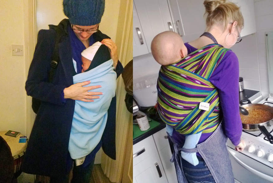 Wrapped up as newborn and bigger baby.